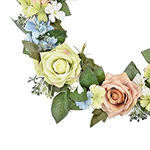 FAVOWREATH 2018 Romantic Series FAVO-W71 Handmade 14 inch Pink/Green Roses,Daisy,Leaf Grapevine Wreath for Summer/Fall Festival Front Door/Wall/Fireplace Wedding Floral Hanger Natural Home Decor 2