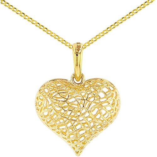 Textured 14K Yellow Gold Puffed Filigree Heart Charm Pendant Necklace, 20'' by JewelryAmerica
