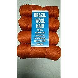 Brazilian Wool Acrylic Yarn for Hair Jumbo Braid/Senegalese Twist/Wraps (Orange)