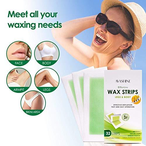 Avashine Wax Strips for Arms Legs Underarm Hair Eyebrow Bikini and Brazilian Hair Removal Contains