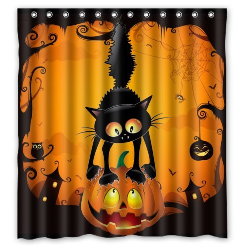 Scary Cat on the Pumpkin Happy Halloween Decoration- Fashion Personalize Custom Bathroom Shower Curtain Waterproof Polyester Fabric 66(w)x72(h) Rings (Halloween Cat Decorations)