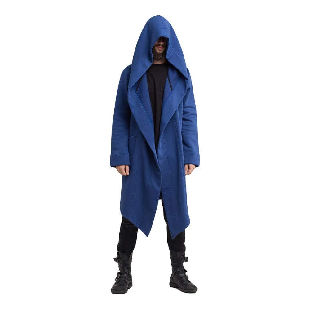 c5461fd1d 2018 Men's Long Trench Coat Winter Long Hoodie Cardigan Cape Coat Loose  Jacket Overcoat