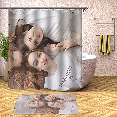 GIRLSIGHT Pretty Cool Shower Curtain Safari Set, Waterproof Bathroom Decor Polyester Fabric 70 x 79 Inches with Hooks and Anti-Slip 40 x 60cm Bath Mat-369.Three Women Lying On Bed