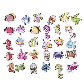 50 unds botones peces, caballitos de mar, medusas, tortugas ..marineros muy originales para bolsas playa, zapatillas, toallas ...