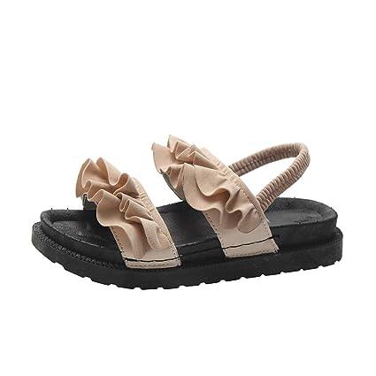 8c142f1fa0f9 Amazon.com  Women Rubber Flat Sandals - Ladies Casual Ruffle Open ...