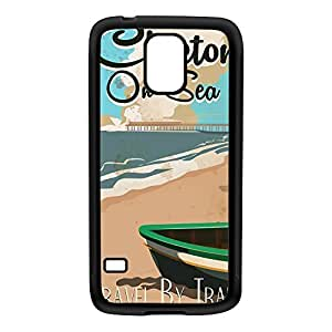 Clacton on sea Black Silicon Rubber Case for Galaxy S5 by Nick Greenaway + FREE Crystal Clear Screen Protector