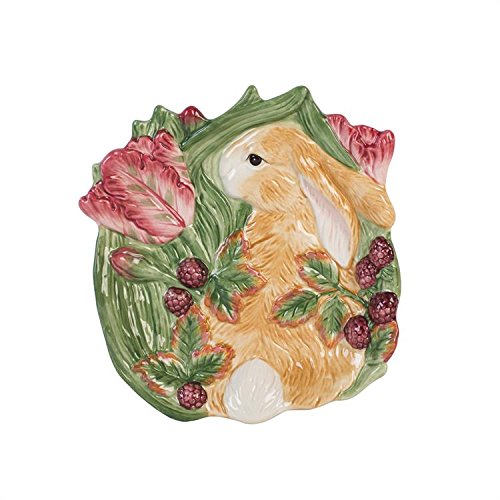 Fitz and Floyd Blackberry Rabbit Appetizer Plate, Brown