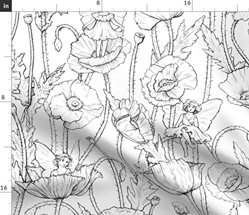 Black And White Quilting Fabric - Fairy Fabric - Poppies Black White Children's Book Girls Poppies Poppy Coloring Book Fairy Magic Pixie Faerie by Logan Spector Printed on Petal Signature Cotton Fabric by The Yard