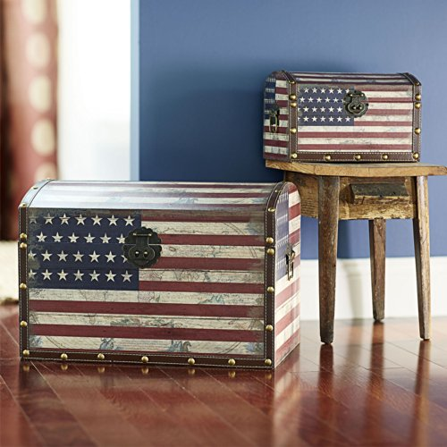 Household Essentials Decorative Storage Trunk, American Flag Design, Large and Small, Set of 2 by Household Essentials (Image #1)