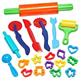 GiBot Dough Tools, 20 Piece Assortments Large-size Pizza Dough Tools Modeling Dough Tools for Kids and Children, Large, Colorful and Non-toxic