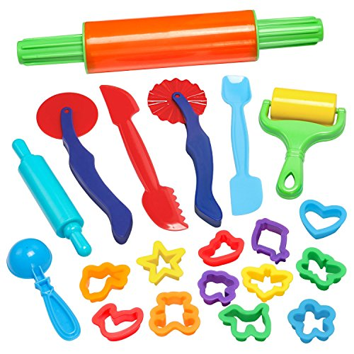Price comparison product image GiBot Dough Tools,  20 Piece Assortments Large-size Pizza Dough Tools Modeling Dough Tools for Kids and Children,  Large,  Colorful and Non-toxic