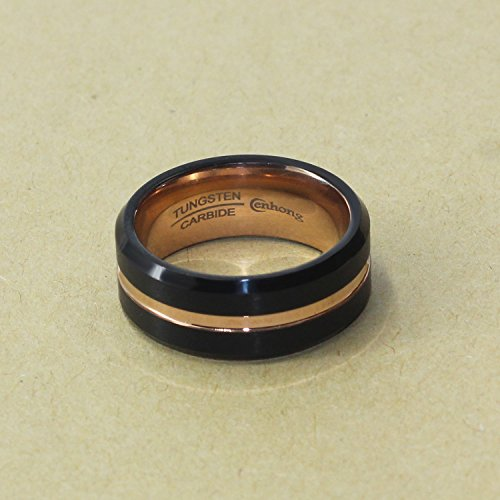 enhong Mens Tungsten Carbide Rings 8mm Black Matte Finish Weding Band 18K Rose Gold Plated Beveled Edge Wedding Ring By 7 by enhong (Image #2)
