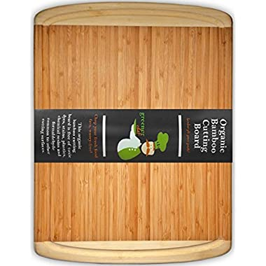 #1 Best ORGANIC Bamboo Wood Cutting & Kitchen Chopping Board with Groove - FDA Compliant with No Risk Money Back Guarantee! - Extra Large - Perfect Wedding or Housewarming Gift