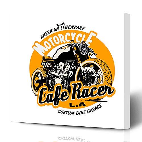 Ahawoso Canvas Prints Wall Art 16x16 Inches Label Motorbike Cafe Racer Vintage Biker Bike Badge Motor Classic Decor for Living Room Office Bedroom