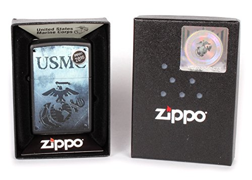 Zippo USMC Logo Pocket Lighter, Black Matte