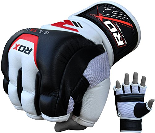 RDX MMA Gloves for Martial Arts Training & Sparring | Cowhide Leather Mitts for Grappling, Kickboxing, Muay Thai, Punching Bag & Cage Fighting from RDX