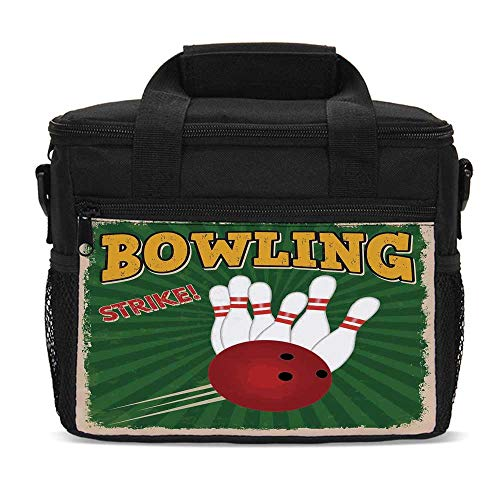 Vintage Decor Durable Lunch Bag,Bowling Balls and Pins Design Western Sport Hobby Leisure Winner Artsy Art Print for Daily Use,9.4
