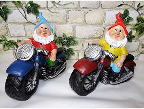 Koi Juego de 2 Enanos de Jardín Enano en Moto Aprox. 15 x 15 cm Jardín Decoración Modelos Biker Regalo Idea: Amazon.es: Jardín
