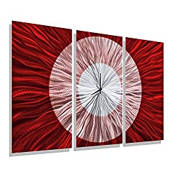 Red & Silver Abstract Metal Wall Clock - Functional Art- Hanging Timepiece - Large Timekeeper - Red Shift Clock by Jon Allen - 38-inch