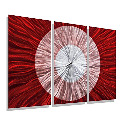 Statements2000 Red & Silver Abstract Metal Wall Clock - Functional Art- Hanging Timepiece - Large Timekeeper - Red Shift Clock by Jon Allen - 38-inch