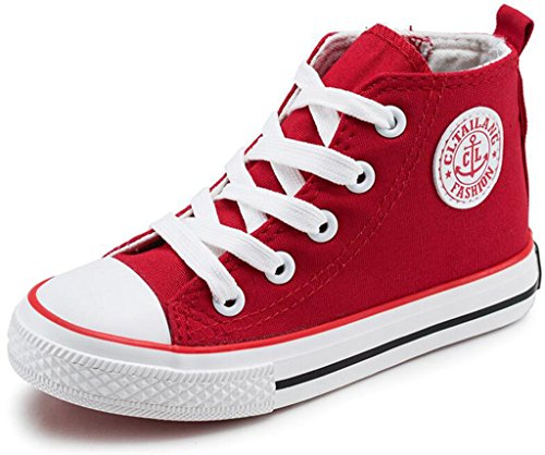 DADAWEN Girl's Boy's Canvas Side Zipper Lace Up High-Top Fashion Sneakers (Toddler/Little Kid/Big Kid) Red US Size 11.5 M Little Kid