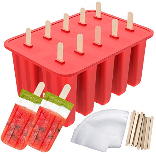 Popsicle Molds, Ouddy 10-Cavity Silicone Homemade Ice Pop Molds with 50 Popsicle Sticks & 50 Popsicle Bags (10 Cavities)
