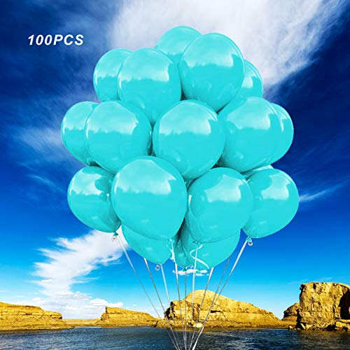 (100pcs) Tiffany Blue Balloons Party Decoration, Great for Kids, Weddings, Receptions, Baby Showers, Water Fights, or Any Celebration,12 Inch Thicken blue Latex balloons.