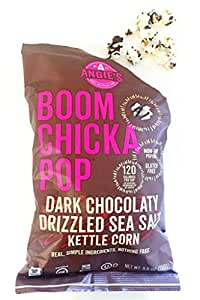 Angie's Boom Chicka Pop Dark Chocolaty Drizzled Sea Salt Kettle Corn, 5.5 Ounce Bag