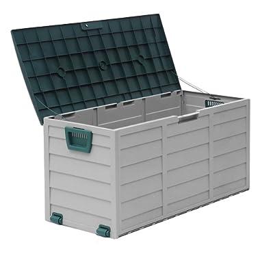 Homgrace Outdoor Patio Deck Box Garage Storage Backyard Tool Shed Container Organizer Garden Furniture (Green)