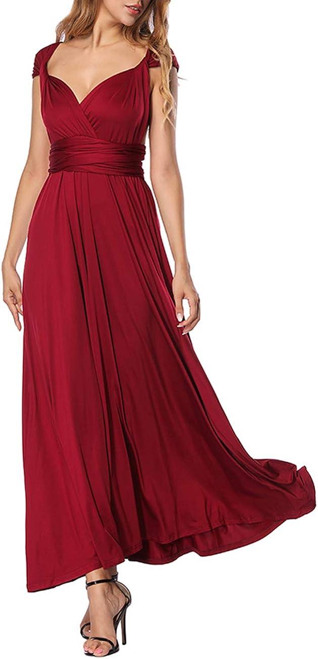 TALLA XL(ES 46-50). FeelinGirl Mujer Vestido de Noche Longitud Máxima Falda Fiesta Cóctel Tirantes Convertibles Multi-Manera Rojo Tinto XL(ES 46-50)