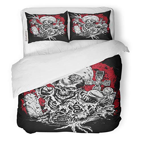 Semtomn Decor Duvet Cover Set Full/Queen Size Red Tattoo Zombie Rising from Grave Horror Halloween Skeleton 3 Piece Brushed Microfiber Fabric Print Bedding Set Cover