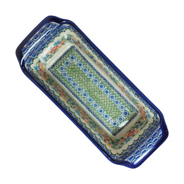Polish Pottery Ceramika Boleslawiec Bread Meatloaf Baker, 12-3/4-Inch by 5-3/8-Inch, 6 Cups, Royal Blue Patterns with Red Cornflower and Blue Butterflies Motif