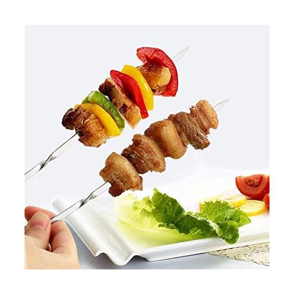 JNT- 15pcs riutilizzabili spiedini di barbecue in acciaio inox piatto barbecue bastone ago for esterni attrezzi da… 2 spesavip