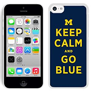 Customized Iphone 5c Case with Ncaa Big Ten Conference Football Michigan Wolverines 17 Protective Cell Phone Hardshell Cover Case for Iphone 5c White