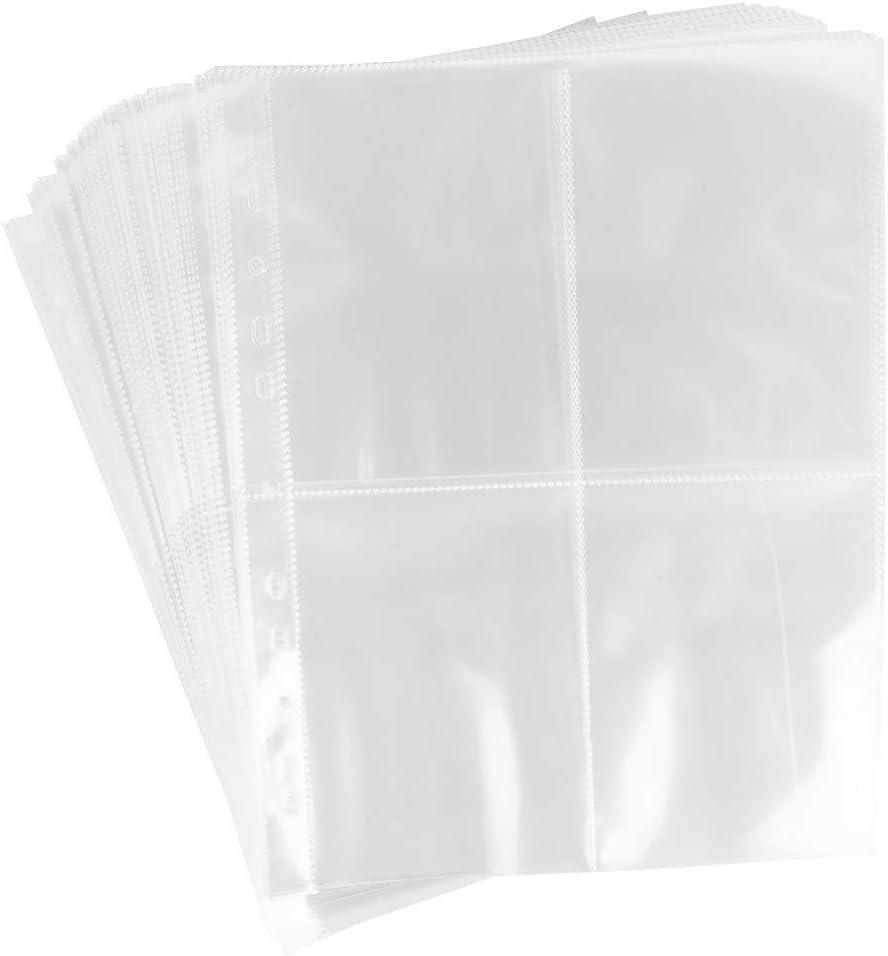 Buste trasparenti da collezione per idee con cuori trasparenti 4 divisori cartoline DIN A4 50 pezzi custodie per foto buste trasparenti 4 scomparti ciascuno 10,8 x 15,2 cm