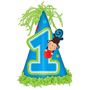 Wild Fun To Be One Blue Boys Happy 1st Birthday Party Paper Frill Cone Hat