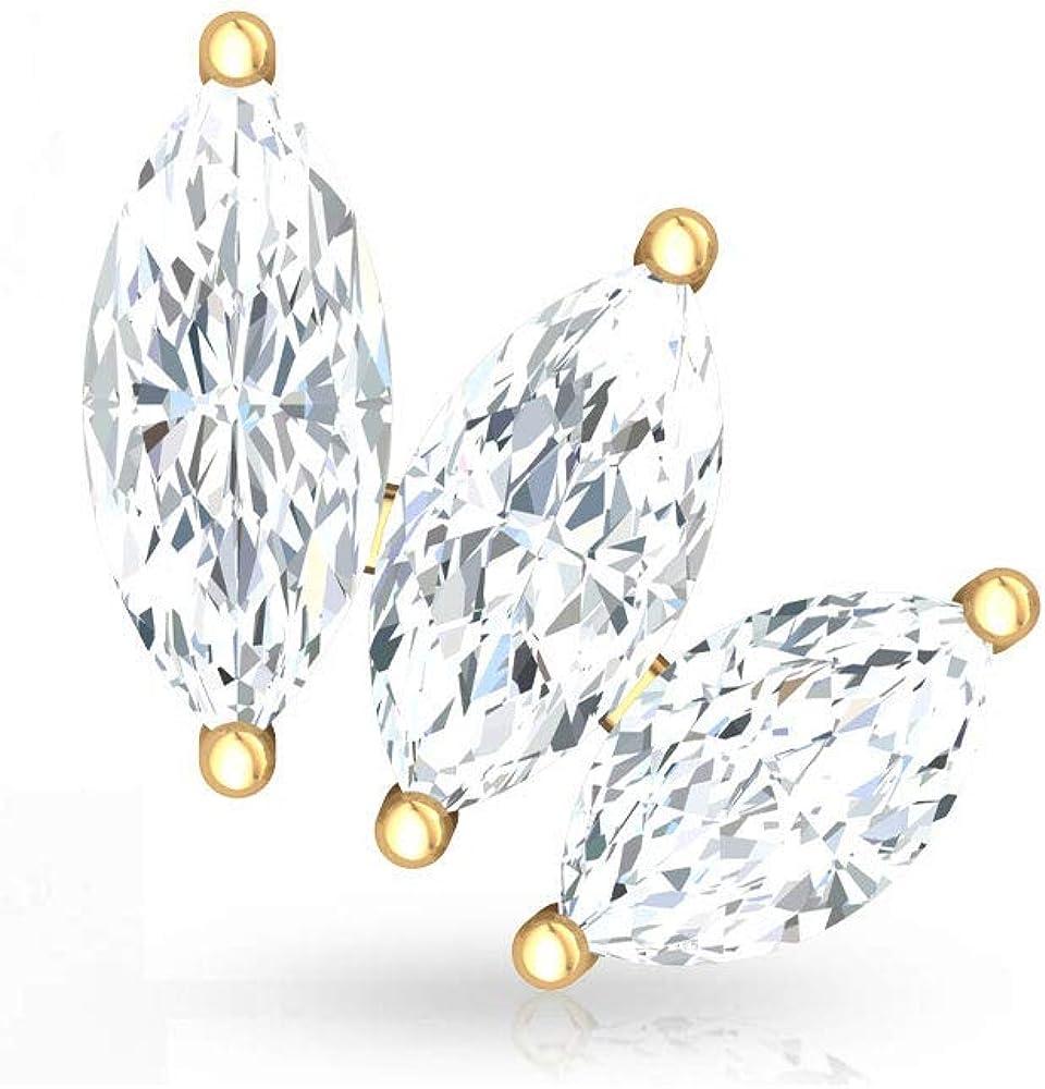 Pendientes de cartílago de diamante con certificado IGI, de 0,36 quilates, para mujer, para aniversario, tornillo hacia atrás