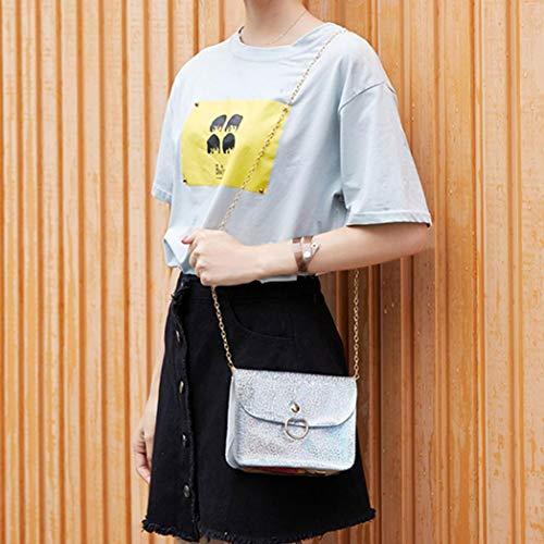 Borsa a Borse Mini Donna Laser Grigio Tracolla Catena Borsa Donna Bag ASHOP per Tracolla Donna Borsa a qgBRRw