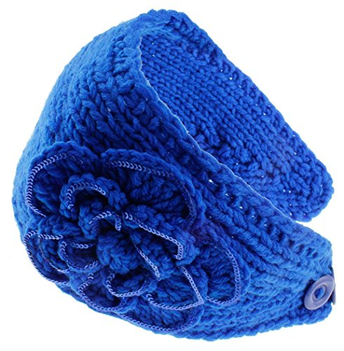 KMystic Knit Winter Headband Ear Warmer with Sparkles (Royal Sequin)