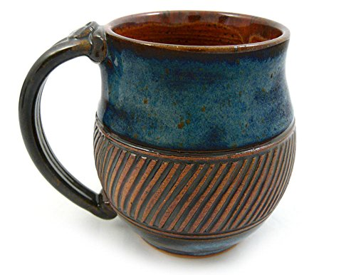 - American-made Earthy Terrain Carved Pottery Mug, 16-ounce (South Seas Blue)