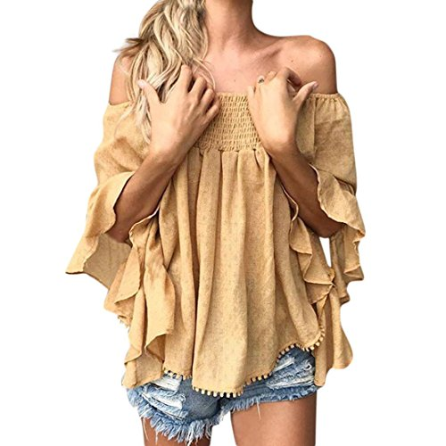 (Women Blouse Daoroka Ladies Sexy Deep V Off Shoulder Long Flared Ruffle Sleeve Strap Solid Shirts Casual Loose Tops (L, Yellow))