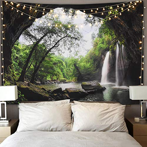 Ice jazz Mountain Cave Tapestry Waterfall Tapestry Forest Tree Tapestry Nature Tapestry Wall Hanging for Bedroom Living Room Dorm 51x59 Inches