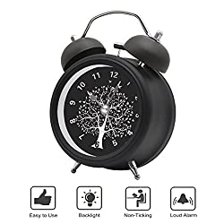 BESTWYA Twin Bell Alarm Clock,Quartz Alarm Clock with Loud Alarm Cute Appearance Backlight Silent Ticking Battery Operated Loud Alarm Clocks for Heavy Sleepers (Black,Wishing Tree)