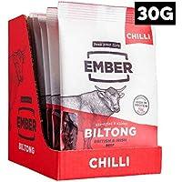 Ember Biltong – Carne Secca Beef Jerky Chili – Snack Proteico Tascabile, Senza Zuccheri Aggiunti – Gusto Chilli (10x30g)