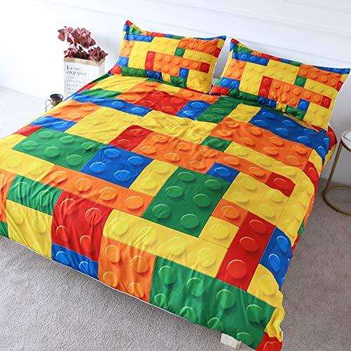 BlessLiving Colorful Toy Bedding Building Blocks Pattern Duvet Cover 3 Pieces Kids Boys Fun Brick Bedspread Set (King)