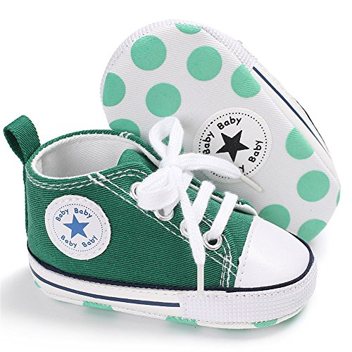 Isbasic Baby Boy Girl Canvas High Top Sneakers Infant Toddler Soft Sole First Walkers Shoes (6-12 Months, green3)