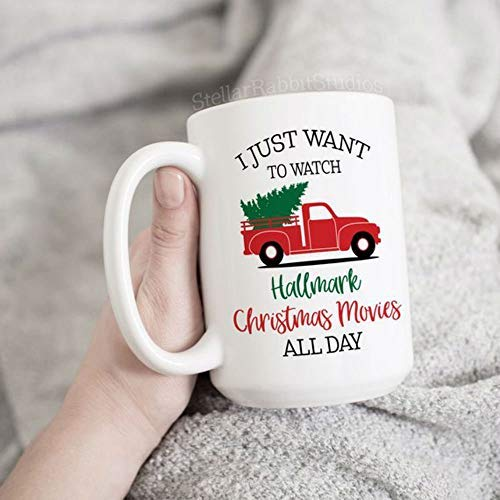 Best quality ceramic mug I Just Want To Watch HALLMARK CHRISTMAS MOVIES All Day, Christmas Tree Truck Mug, Christmas Coffee Mug, Merry Little Christmas, Holiday Mug by APRILOVE
