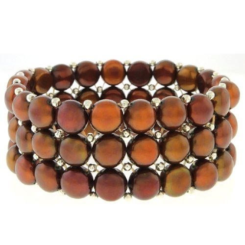 Stretchy Cognac Cultured Freshwater Pearl 3 Row Bracelet Bangle - Pearl Freshwater Bracelet Chocolate