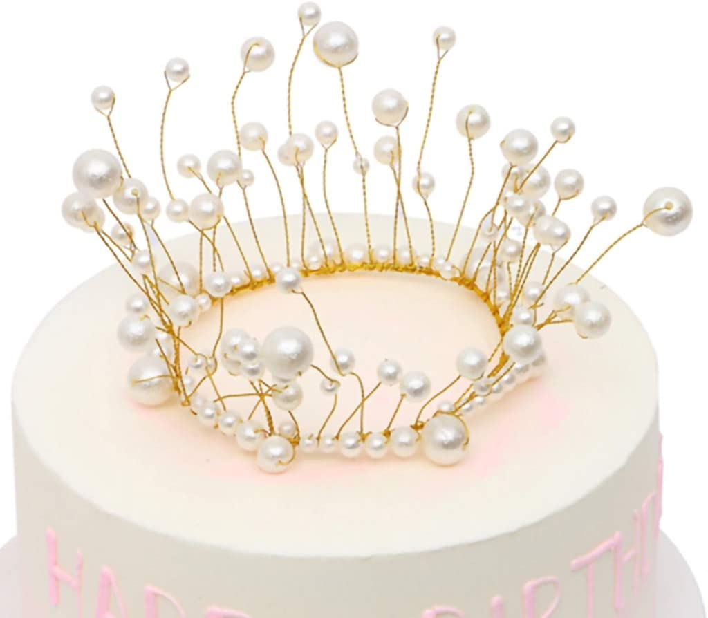 Remarkable Amazon Com Ironbuddy Pearl Crown Cake Topper Handmade White Pearl Funny Birthday Cards Online Alyptdamsfinfo