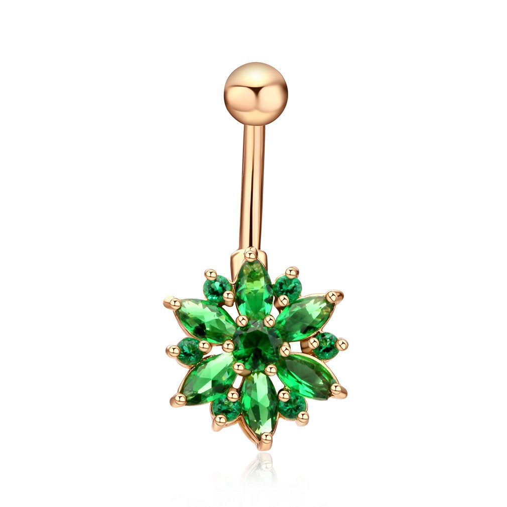 Fashion Women Body Piercing Jewelry 14G Hypoallergenic Stainless Steel Cubic Zirconia Belly Button Ring Navel Rings Flower Gold With Diamond Green